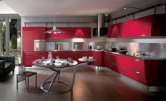 Curved Shape Kitchen Cabinets Kitchen Color Trends Abound in Flux by Scavolini