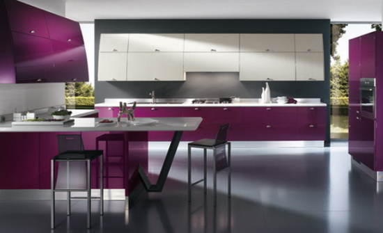 Kitchen Color Trends Purple Kitchen Color Trends Abound in Flux by Scavolini