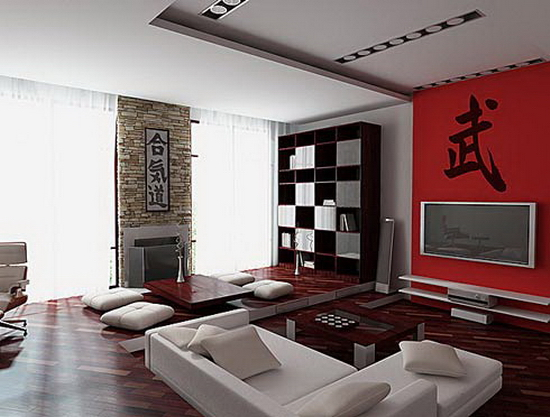 living room spaces ideas Red Wall
