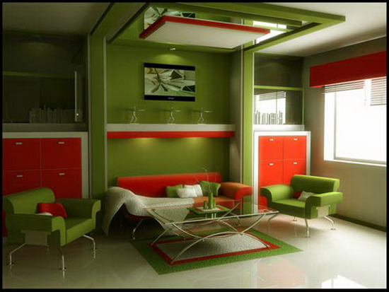 living room spaces ideas Green and Vermillon
