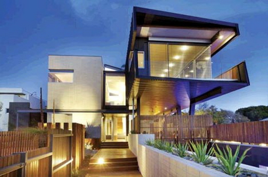 suburban cantilever steel home  Suburban Living on the Edge   Steel Bridge Cantilever House