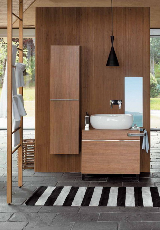 wooden batroom cabinets and oval ceramics 1  Egg by Pozzi Ginori   Wooden Bathroom Fixtures