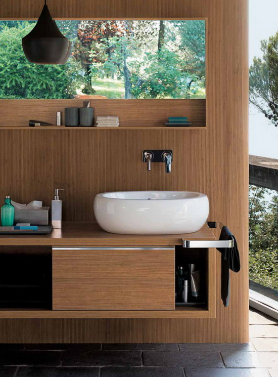 wooden batroom cabinets and oval ceramics 2  Egg by Pozzi Ginori   Wooden Bathroom Fixtures