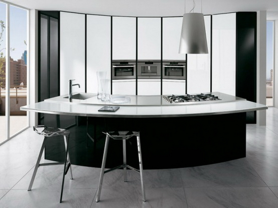 Black and white kitchen with curved island ElektraVetro White by Ernestomeda 2 ElektraVetro White by Ernestomeda   Black and White Kitchen with Curved Island