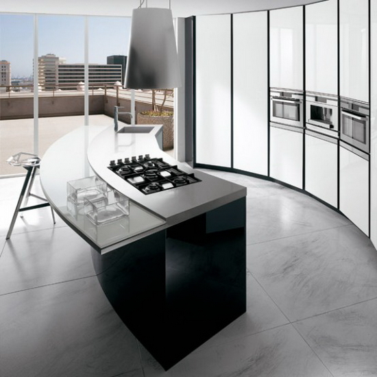 Black and white kitchen with curved island ElektraVetro White by Ernestomeda 3 ElektraVetro White by Ernestomeda   Black and White Kitchen with Curved Island