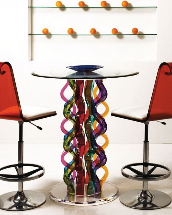 Glass Bar Table curly