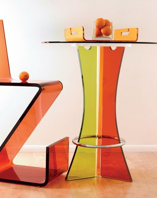 Glass Bar Table | Red Yellow