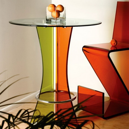 Glass Bar Table | Yellow Red