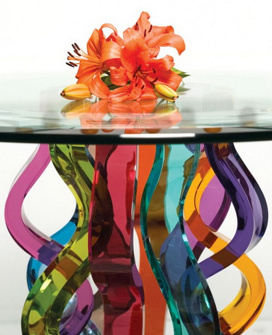 Glass Bar Table | Curly Detail
