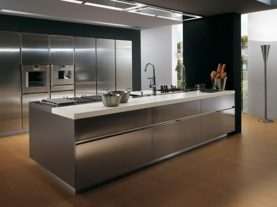 contemporary Stainless steel kitchen cabinets Elektra Plain Steel by Ernestomeda 1  Elektra Plain Steel by Ernestomeda   Contemporary Stainless Steel Kitchen Cabinets –
