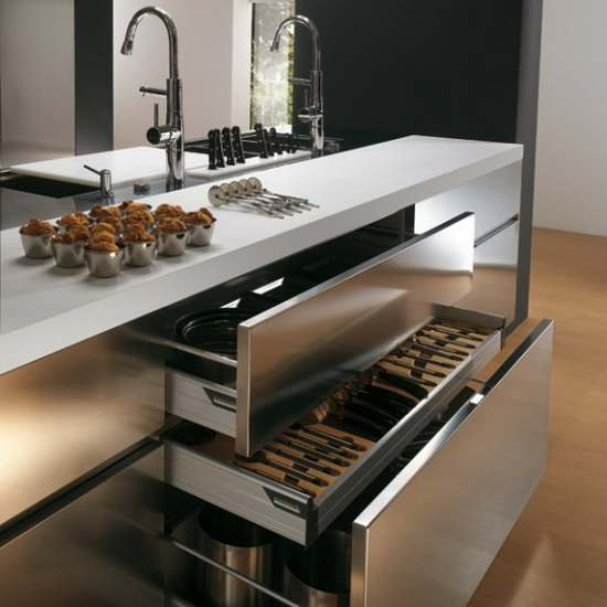 contemporary Stainless steel kitchen cabinets Elektra Plain Steel by Ernestomeda 4  Elektra Plain Steel by Ernestomeda   Contemporary Stainless Steel Kitchen Cabinets –