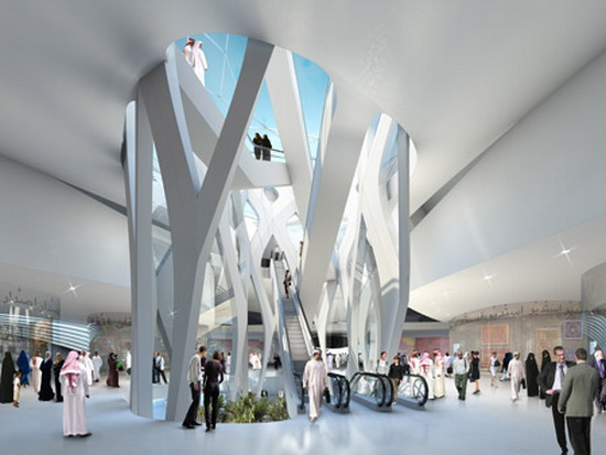contemporary lobby plans and design Futuristic Building Plans : Modern Art Museum in Dubai UAE