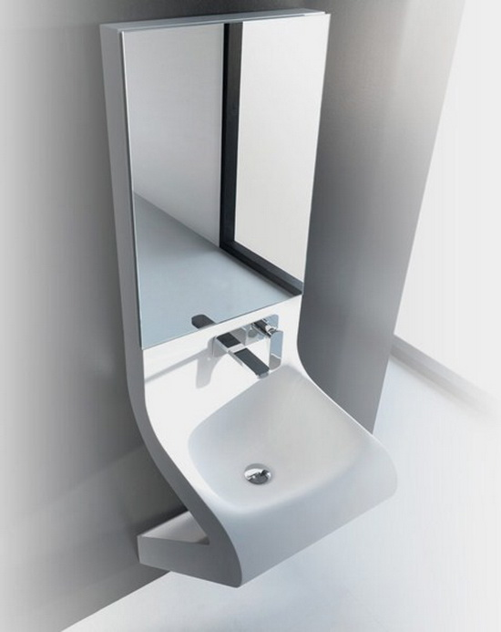 modern wash basin and medicine cabinet Modern Sink Combos and Bathroom Mirror   by ArtCeram