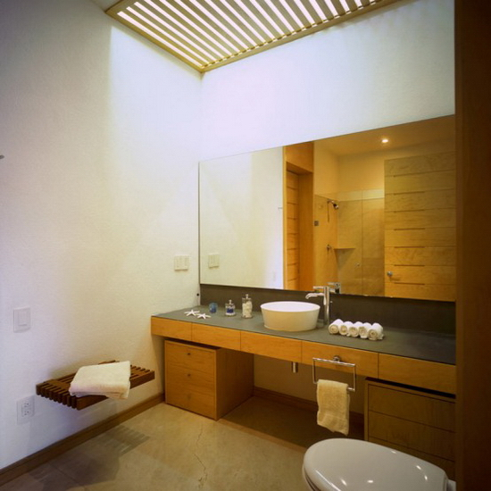 two courtyards house and modern interior - bathroom