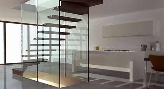 wood and glass staircase siller