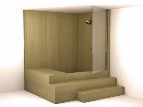 wood showers and shower cabins