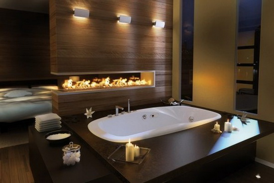 traditional beautiful bathroom design ideas with fire place Top 2010 Bathroom Design Ideas
